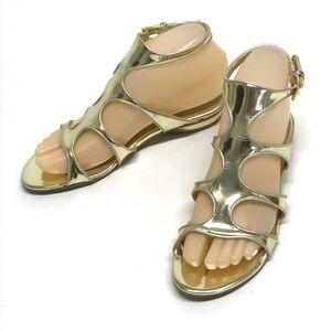 STUART WEITZMAN GOLD Gladiator Sandals Flats 5 NEW